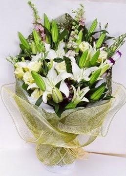 Kayseri çiçek yurtiçi ve yurtdışı çiçek siparişi  3 adet kazablankalardan görsel buket çiçeği