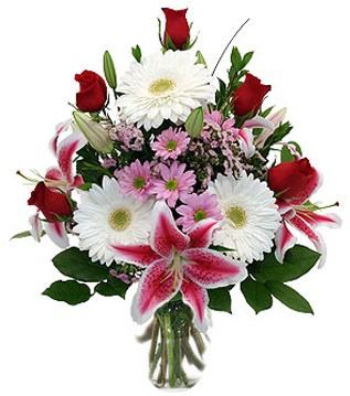 Kayseri çiçek online çiçekçi , çiçek siparişi  1 dal kazablanka 5 gül ve kırçiçeği vazosu