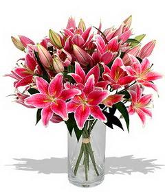 4 dal cazablanca görsel vazosu  Kayseri çiçek internetten çiçek siparişi