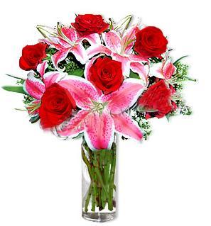 Kayseri özvatan çiçek çiçek , çiçekçi , çiçekçilik  1 dal cazablanca ve 6 kırmızı gül çiçeği