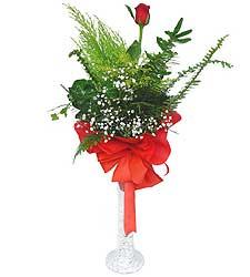 Kayseri çiçek çiçek mağazası , çiçekçi adresleri  Cam vazoda masum tek gül