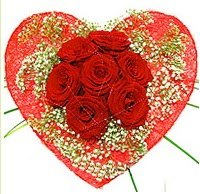 Mika kalp içerisinde 7 adet kırmızı gül  Kayseri çiçek internetten çiçek siparişi