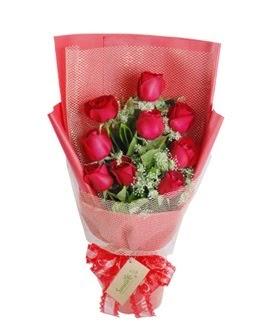 9 adet kırmızı gülden görsel buket  Kayseri çiçek internetten çiçek satışı