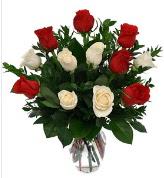 Vazo içerisinde 6 kırmızı 6 beyaz gül  Kayseri çiçek çiçekçiler