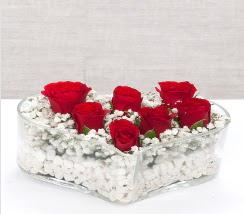 kalp içerisinde 7 adet kırmızı gül  Kayseri çiçek uluslararası çiçek gönderme