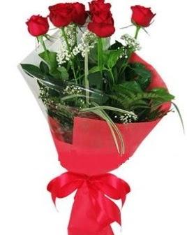 5 adet kırmızı gülden buket  Kayseri çiçek çiçek yolla , çiçek gönder , çiçekçi