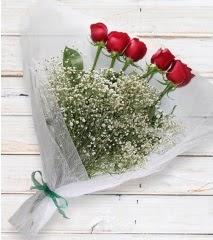 5 kırmızı gülden sade buket  Kayseri özvatan çiçek çiçek , çiçekçi , çiçekçilik
