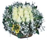 Kayseri çiçek cicek , cicekci  Beyaz harika bir gül sepeti