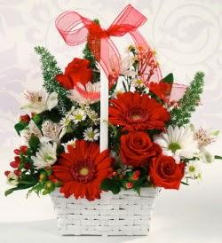 Karışık rengarenk mevsim çiçek sepeti  Kayseri çiçek cicekciler , cicek siparisi