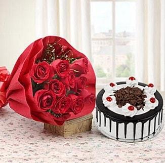 12 adet kırmızı gül 4 kişilik yaş pasta  Kayseri çiçek çiçek siparişi sitesi