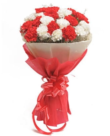 21 adet kırmızı beyaz karanfil buketi  Kayseri çiçek çiçekçi mağazası