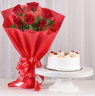 6 Kırmızı gül ve 4 kişilik yaş pasta  Kayseri çiçek çiçek siparişi sitesi