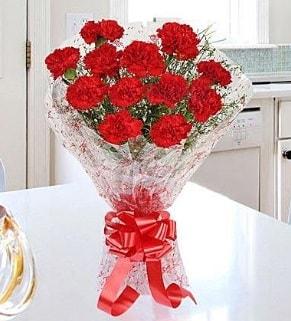 12 adet kırmızı karanfil buketi  Kayseri akkışla çiçek çiçekçi telefonları