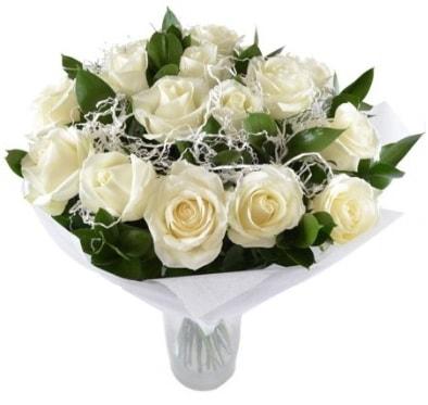 15 beyaz gül buketi sade aşk  Kayseri çiçek çiçekçi mağazası