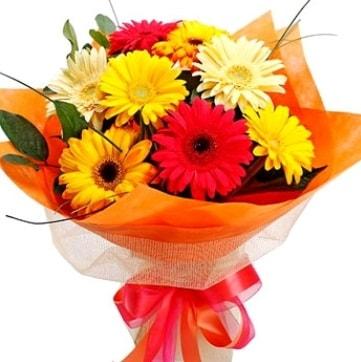 9 adet karışık gerbera buketi  Kayseri çiçek çiçek siparişi sitesi