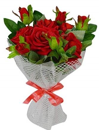9 adet kırmızı gülden sade şık buket  Kayseri çiçek hediye çiçek yolla
