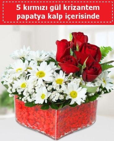 mika kalp içerisinde 5 kırmızı gül papatya  Kayseri çiçek ucuz çiçek gönder