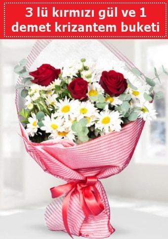 3 adet kırmızı gül ve krizantem buketi  Kayseri çiçek çiçek satışı