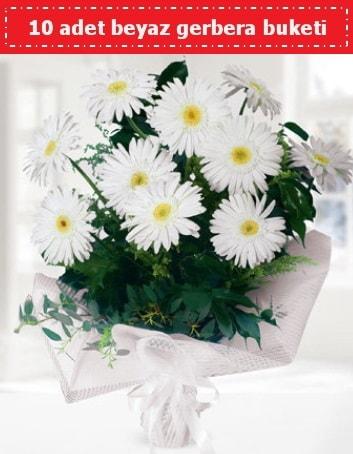 10 Adet beyaz gerbera buketi  Kayseri çiçek çiçek siparişi sitesi