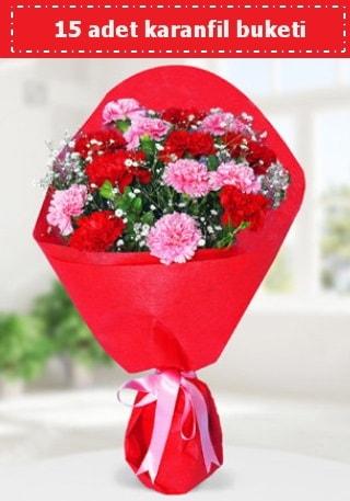 15 adet karanfilden hazırlanmış buket  Kayseri çiçek hediye sevgilime hediye çiçek
