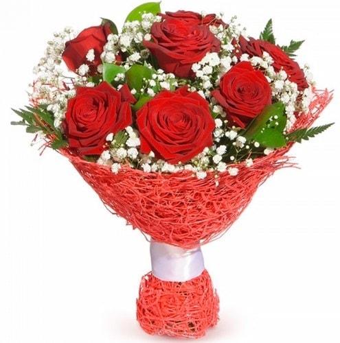 7 adet kırmızı gül buketi  Kayseri çiçek cicek , cicekci