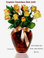Kayseri çiçek online çiçek gönderme sipariş  mika yada Cam vazoda 12 adet sari gül